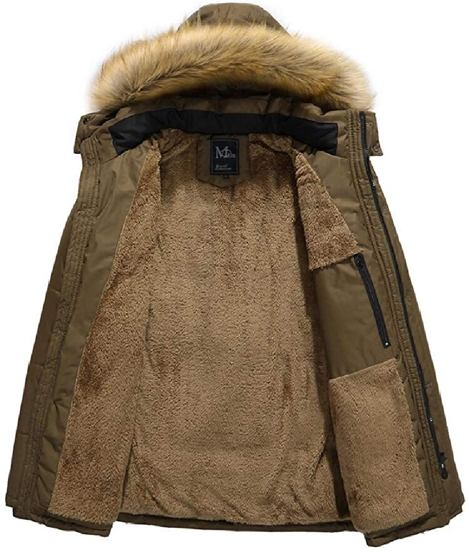 Hokny TD Mens Faux-Fur Collar Casual Winter Thick Faux Fur Lined Down Jacket Coat