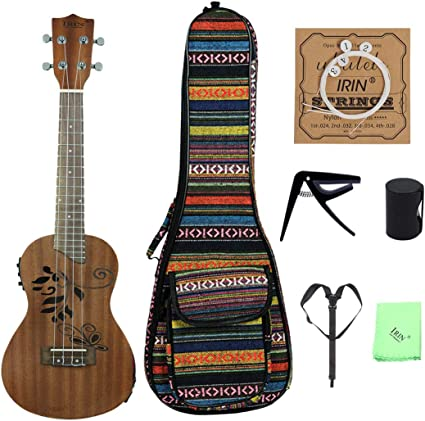 Ukelele 24 Pulgadas Concierto Electroac/ústico Ukelele Guitarra Hawaiana De Cuatro Cuerdas