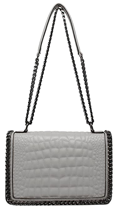 f46f72a3b4 CRAZYCHIC - Women Chain Cross Body Bag - Black Chains Shoulder Strap Handbag  - Croco Quilted