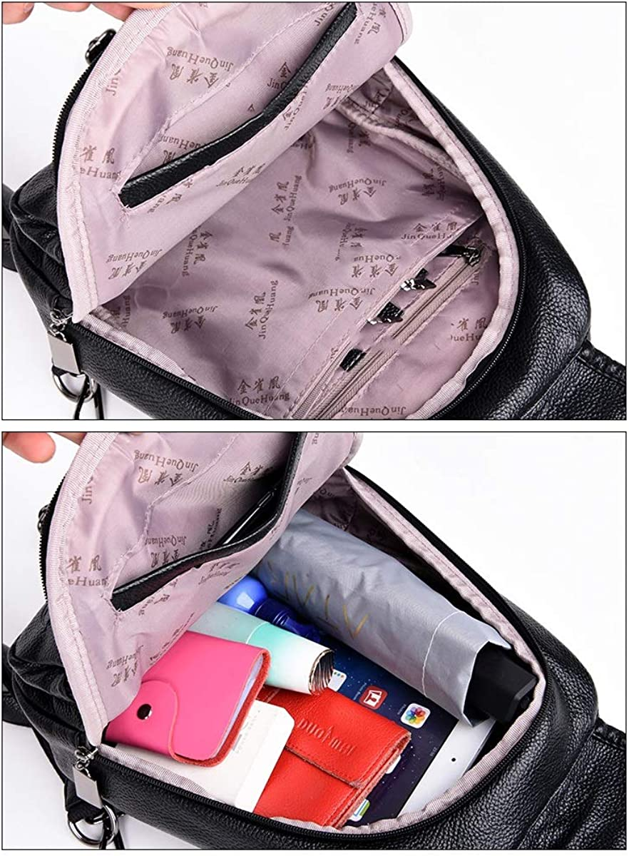 Simple Fashion for Women /& Men Black//Brown//Red PU Leather ZHICHUANG Girls Multipurpose Backpack for Daily Travel//Travel//School//Work//Fashion//Leisure