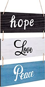 Rustic Wishes Wooden Home Wall Sign Farmhouse Wall Hanging Decoration Wooden Sign Hope Love Peace Large Vintage Hanging Sign for Living Room Bedroom Bathroom Kitchen Office Decoration