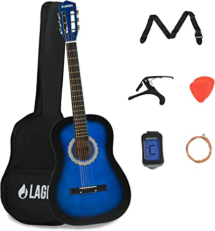 Lagrima Acoustic Guitar Beginners With Guitar Case Strap Tuner Pick Steel Strings Blue Amazon Co Uk Musical Instruments