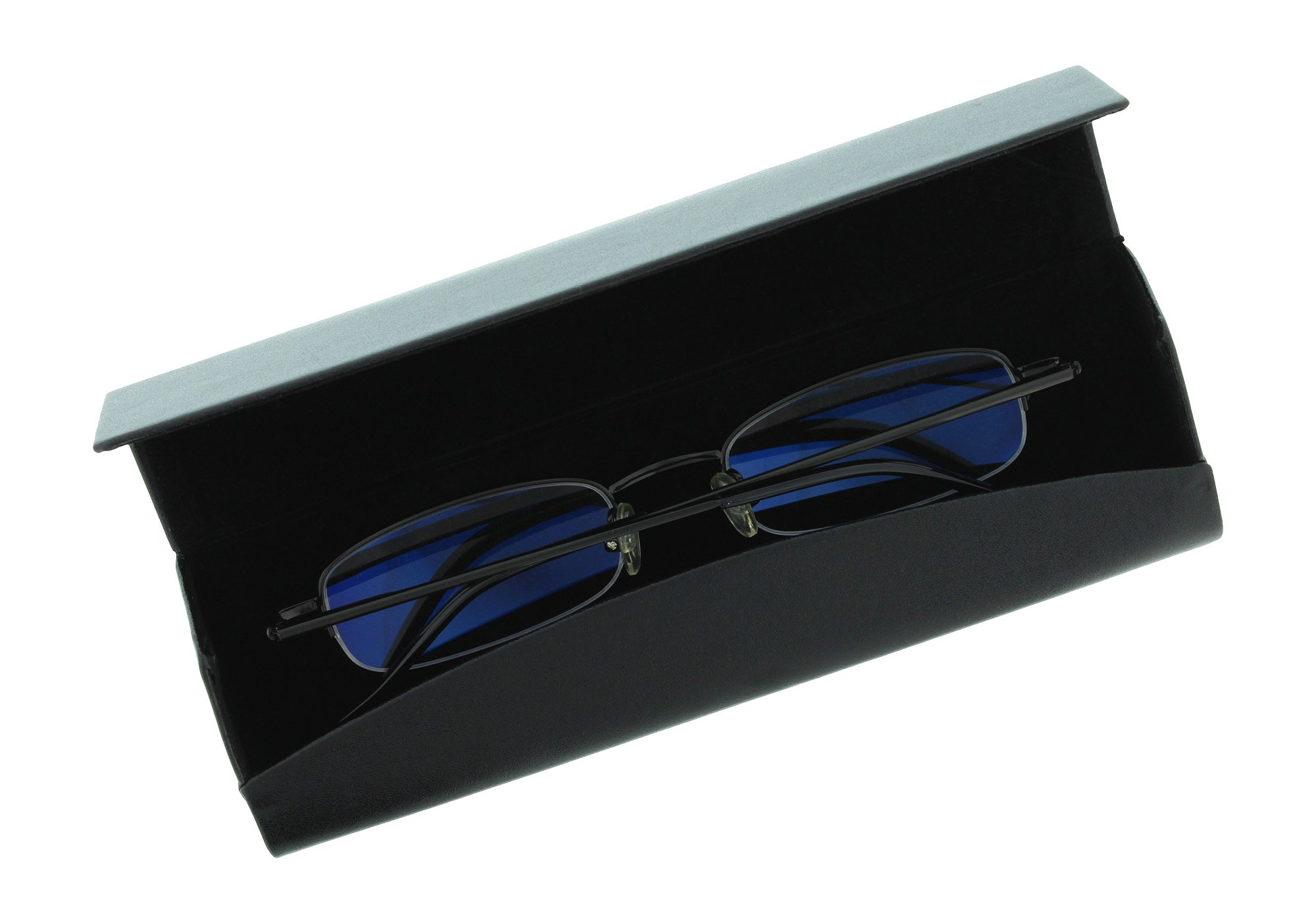 Smooth Faux Leather Eyeglass Case Magnetic Front Closure Black Fits Small Frames by Ron's Optical (Image #2)
