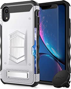 iPhone XR Case Electro Series by Zizo - Heavy-Duty Phone Cover with Card Slot, Tempered Glass Screen Protector, Built-in Magnet and Magnetic Car Mount Included