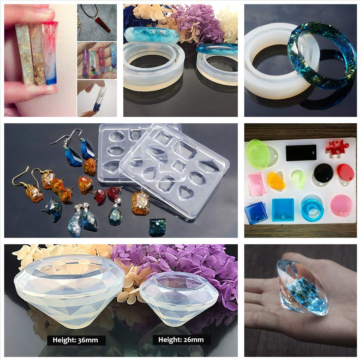 INNICON 250g Resin Casting Molds Kit 22 Silicone Resin Snowflake Comb Angel Wings Crown Molds 12 Glitter Sequins 14x Open Back Bezels Traceless Tape with Lamp For DIY Charms Necklaces Earrings Making by INNICON (Image #4)
