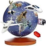 地球儀 子供 日本語 3Dで学べる 4WAY「小さな世界」オルゴール LEDライト付き 知育玩具 ベッドサイドランプ 地勢タイプ 真珠フィルム 雰囲気が良い 防水性 先生おすすめ小学生の地球儀 新入学のお祝いに プレゼント(Blue)