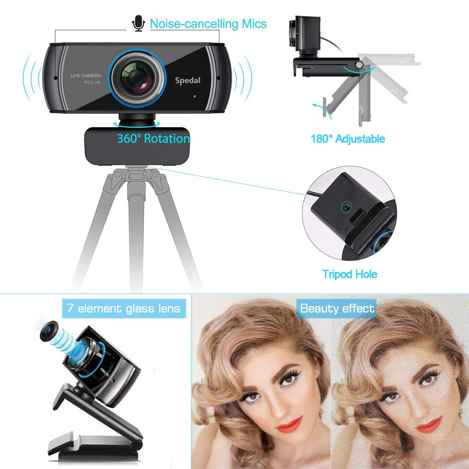 Spedal Full HD Webcam 1536p, Beauty Live Streaming Webcam, Computer Laptop Camera for OBS XSplit Skype Facebook, Compatible for Mac OS Windows 10/8/7 by Spedal (Image #2)