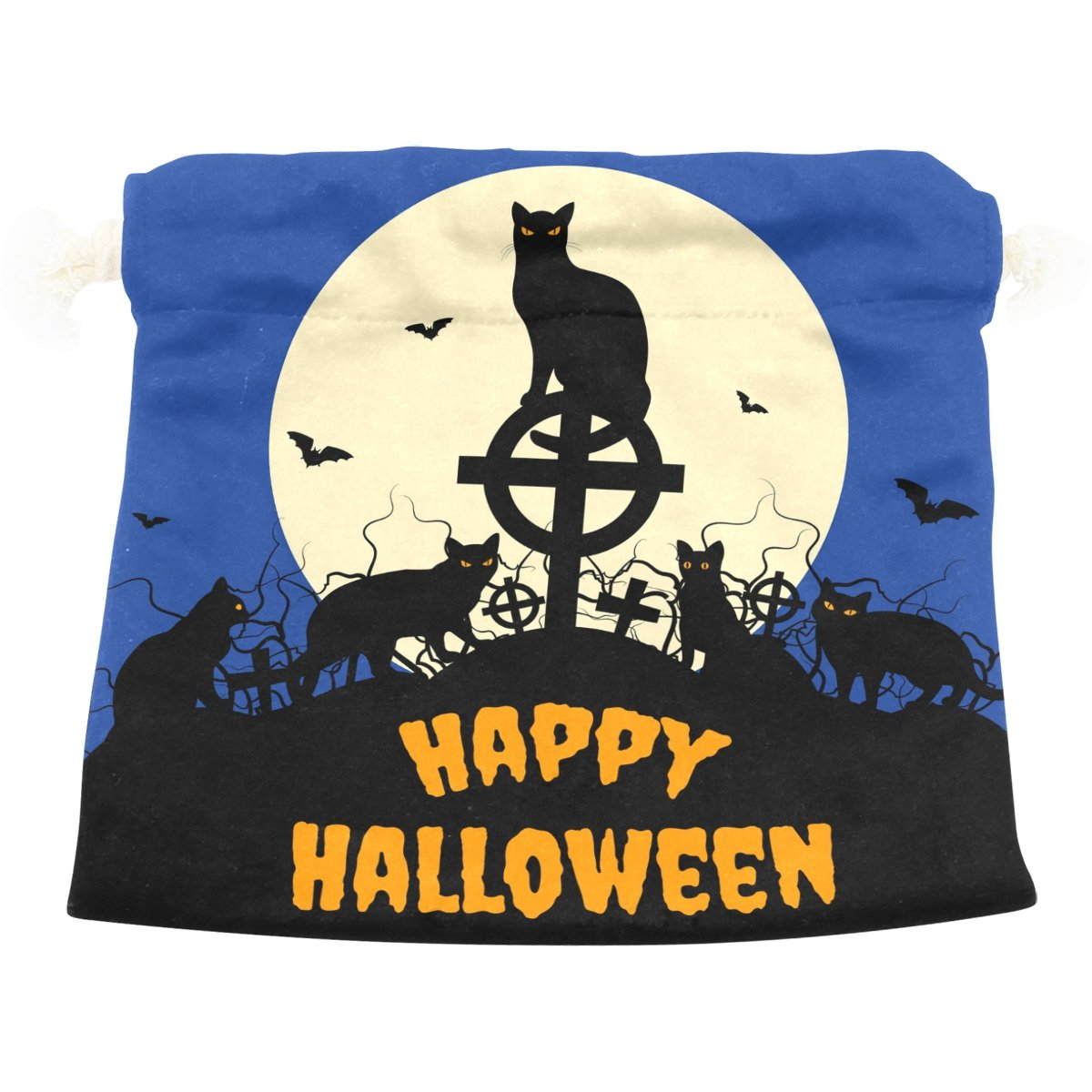 Dragon Sword Halloween Black Cats And Full Moon Gift Bags Jewelry Drawstring Pouches for Wedding Party, 6x8 Inch