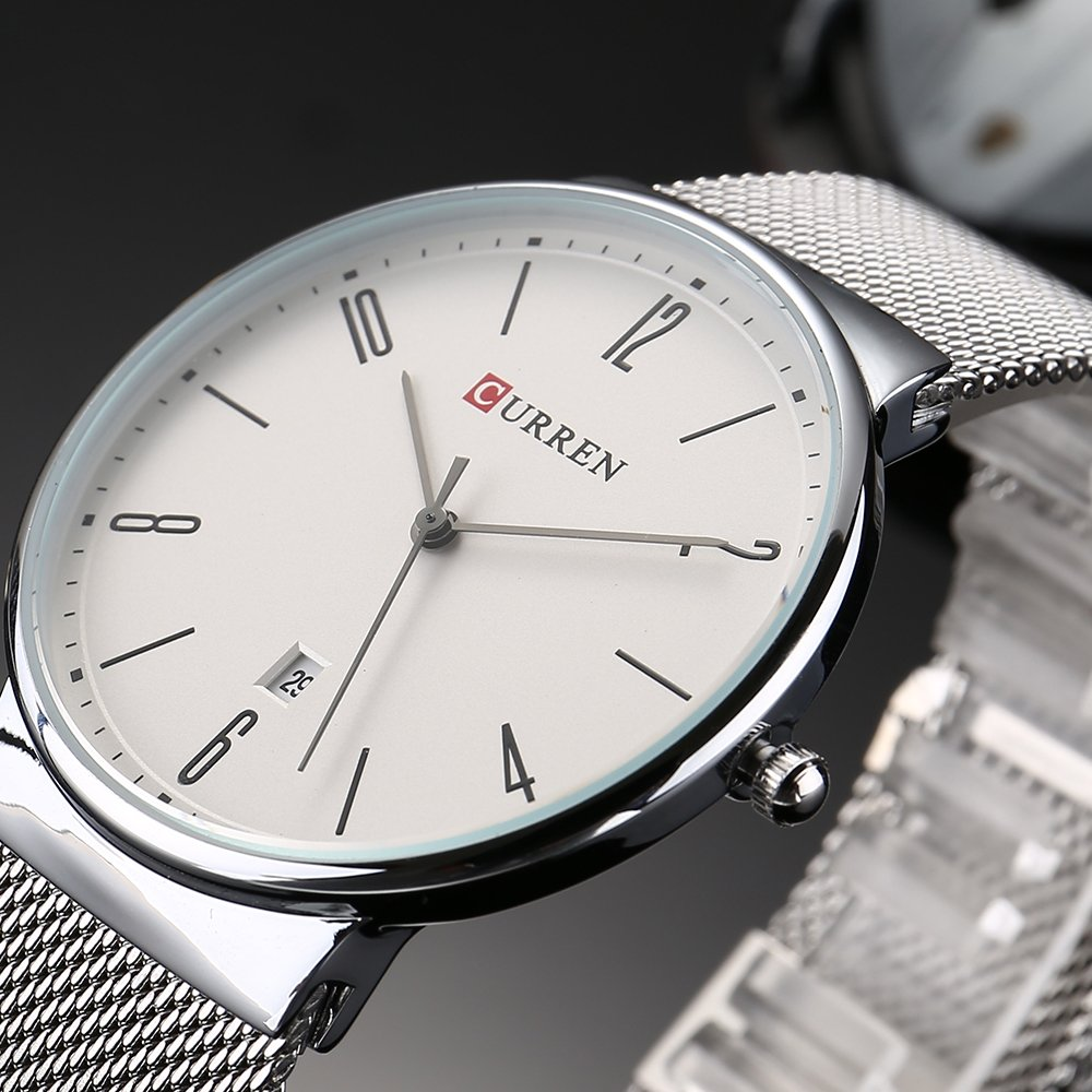 Amazon.com: CURREN 8257 (Silver White) Mens Unisex-adult Waterproof Stainless Steel Date Good Quality Watch: Watches