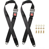 2 EXTENSIONS 2 Kits Universal Strap Adjustable Seat Belt Black 3 Point