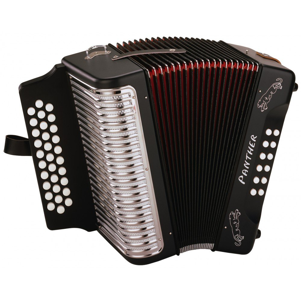 Hohner Panther G/C/F 3-Row Diatonic Accordion - Black by HOHNER