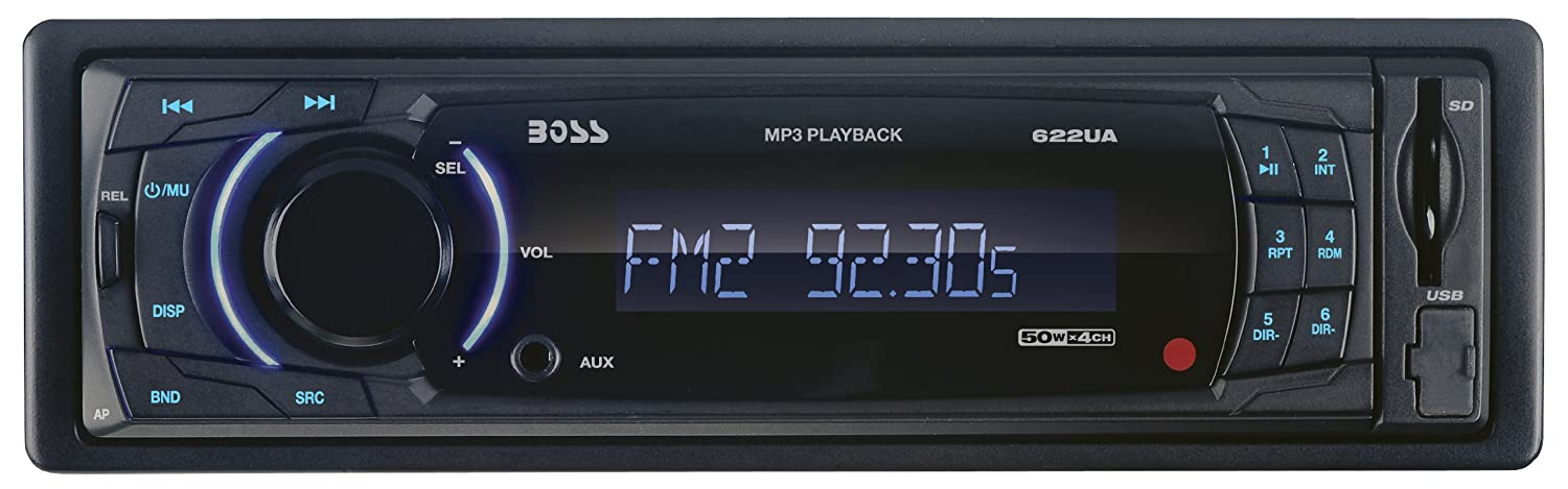 BOSS Audio 622UA In-Dash Single-Din Detachable USB/SD/MP3 Player Receiver with Remote
