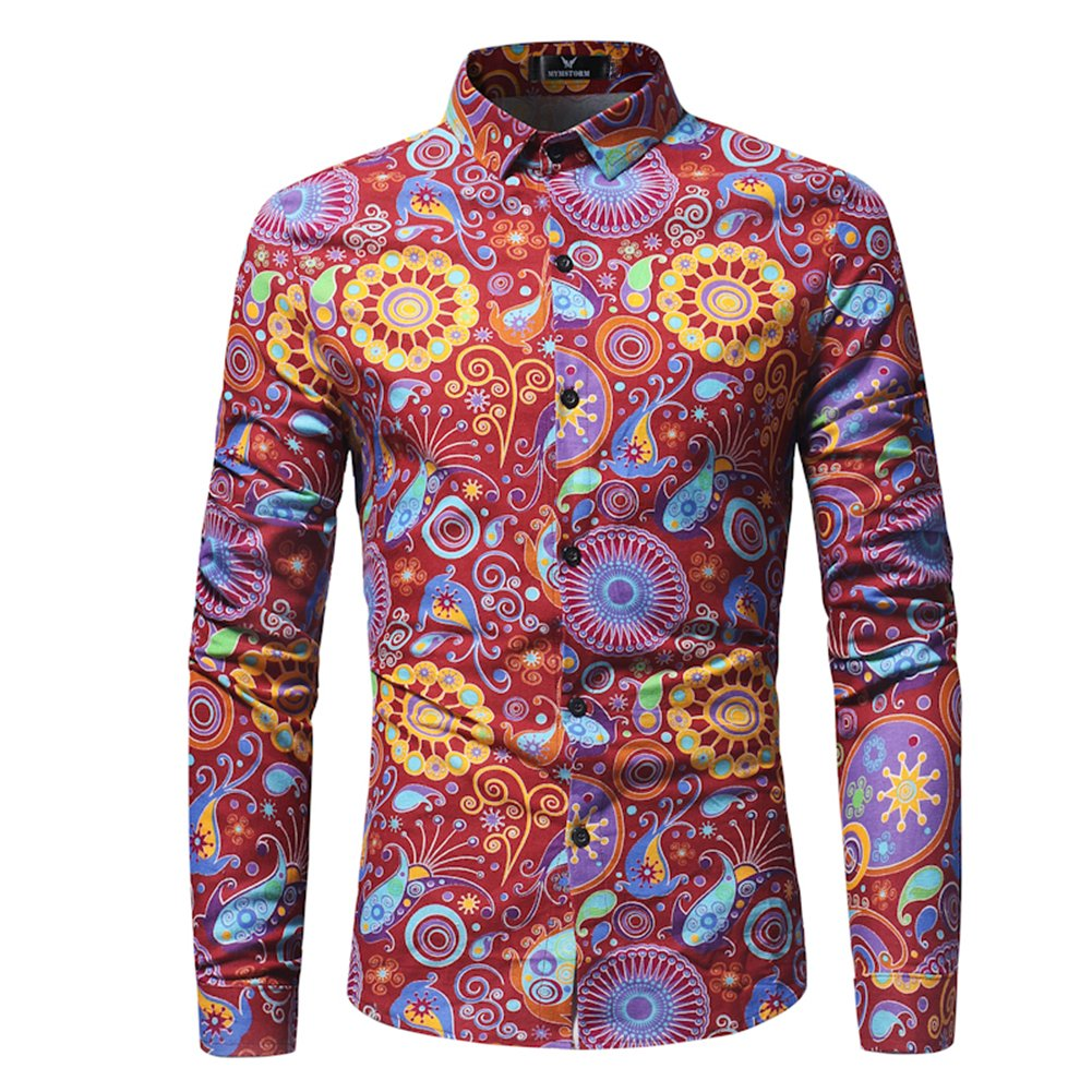 FULIER Men's Fashion Long-Sleeved Shirt Slim Fit Unique Design Long Sleeved Shirt