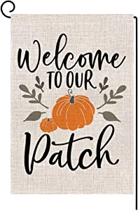 BLKWHT 155868 Welcome to Our Pumpkin Patch Fall Small Garden Flag Vertical Double Sided 12.5 x 18 Inch Farmhouse Autumn Burlap Yard Outdoor Decor