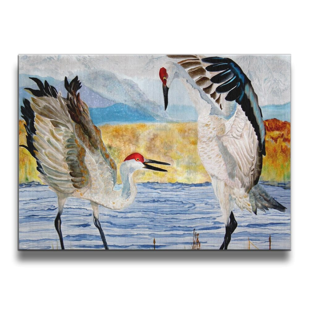 Martoo-store Art The Dance Sandhill Cranes 16/20 Inch (A Frameless) Decorative Artwork Abstract Paintings On Canvas Wall Art Ready To Hang For Home Decoration Wall Decor, Paintings For Living Room
