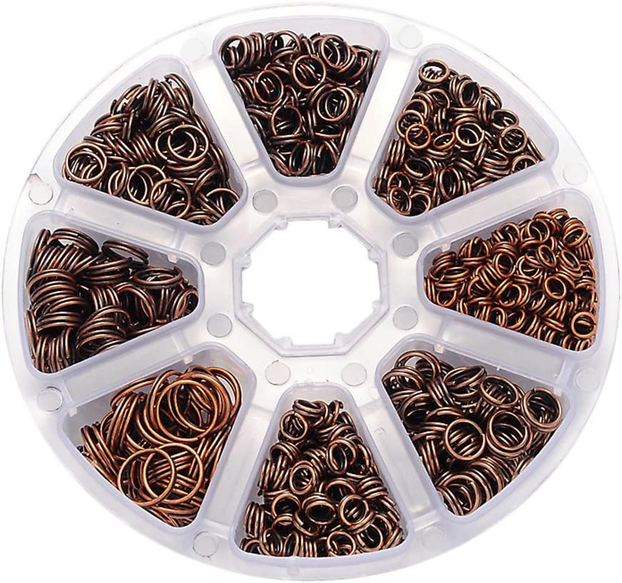 Box Mixed Size 4mm-10mm COPPER Open Unsoldered Iron Jump Rings jewellery making