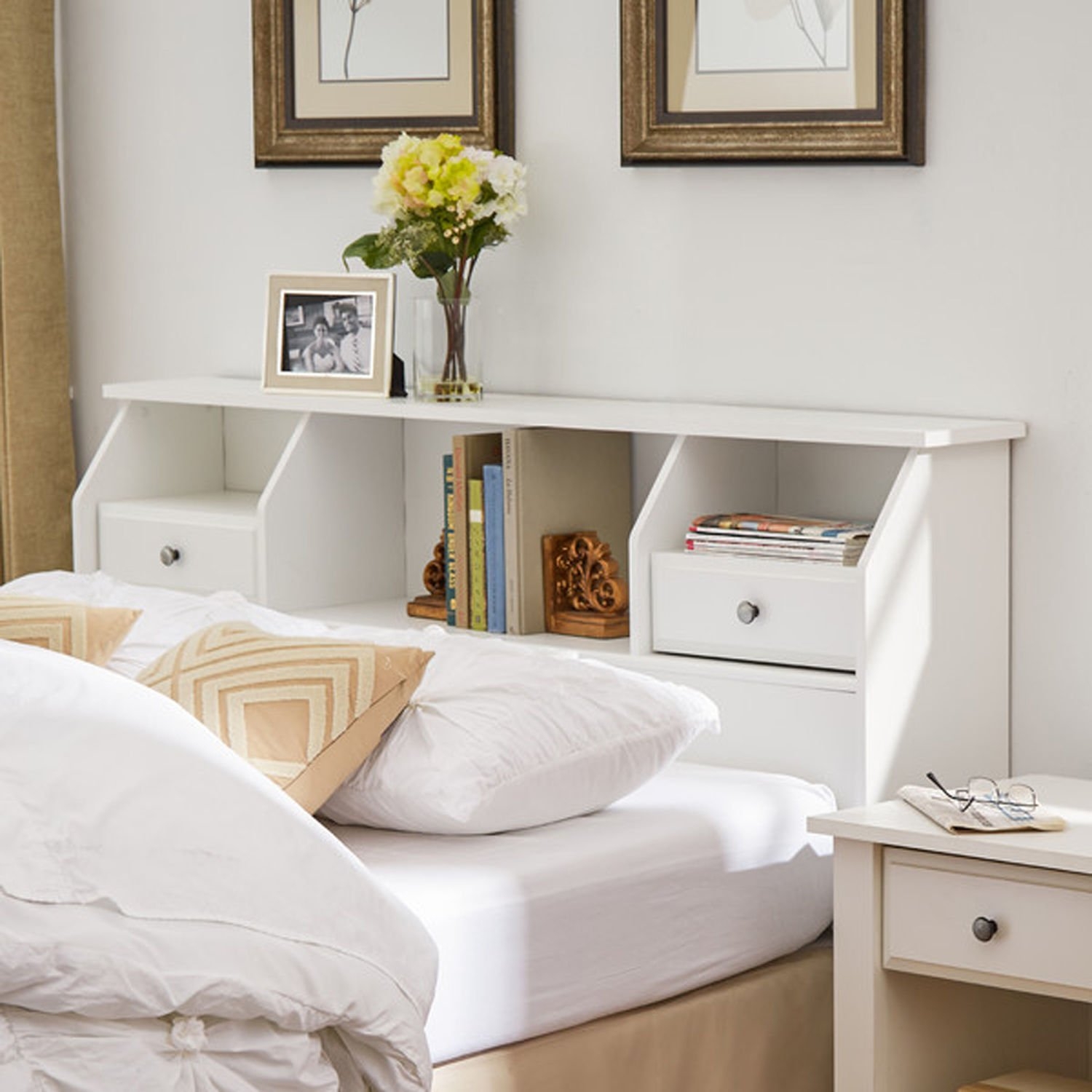 Headboard with Storage Queen / Full Size Bookcase Drawers Wood White Shelves Modern Bedroom Headboard by Revere (Image #1)