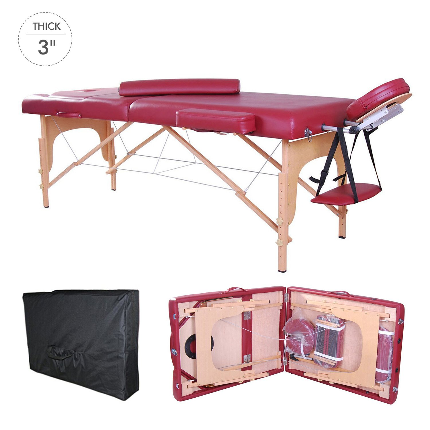 Soozier 91-Inch 3-Section Portable Massage Table with Carrying Bag, 3-Inch Thick, Rose Red Aosom Canada 5550-3076RC