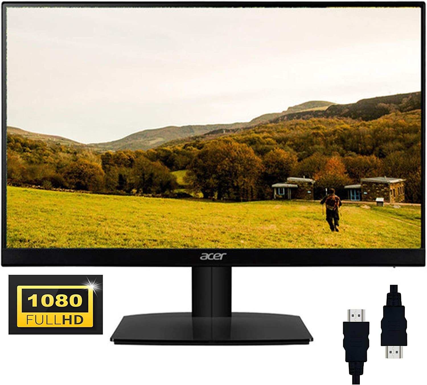 "ACER 27 2020 Newest Monitor I 27"" Full HD (1920 x 1080) IPS 75Hz Refresh Rate Widescreen LED Display I AMD Free-Sync 1ms Visual Response Flicker-Less Ultra-Thin with Zero Frame + Delca HDMI"