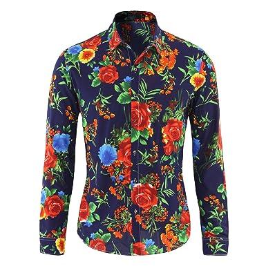 comment acheter lisse outlet à vendre YOUTHUP Funky Chemise Casual Hawaïenne Shirt Homme Manche Longue Imprimé  Fleurs Repassage XS-3XL