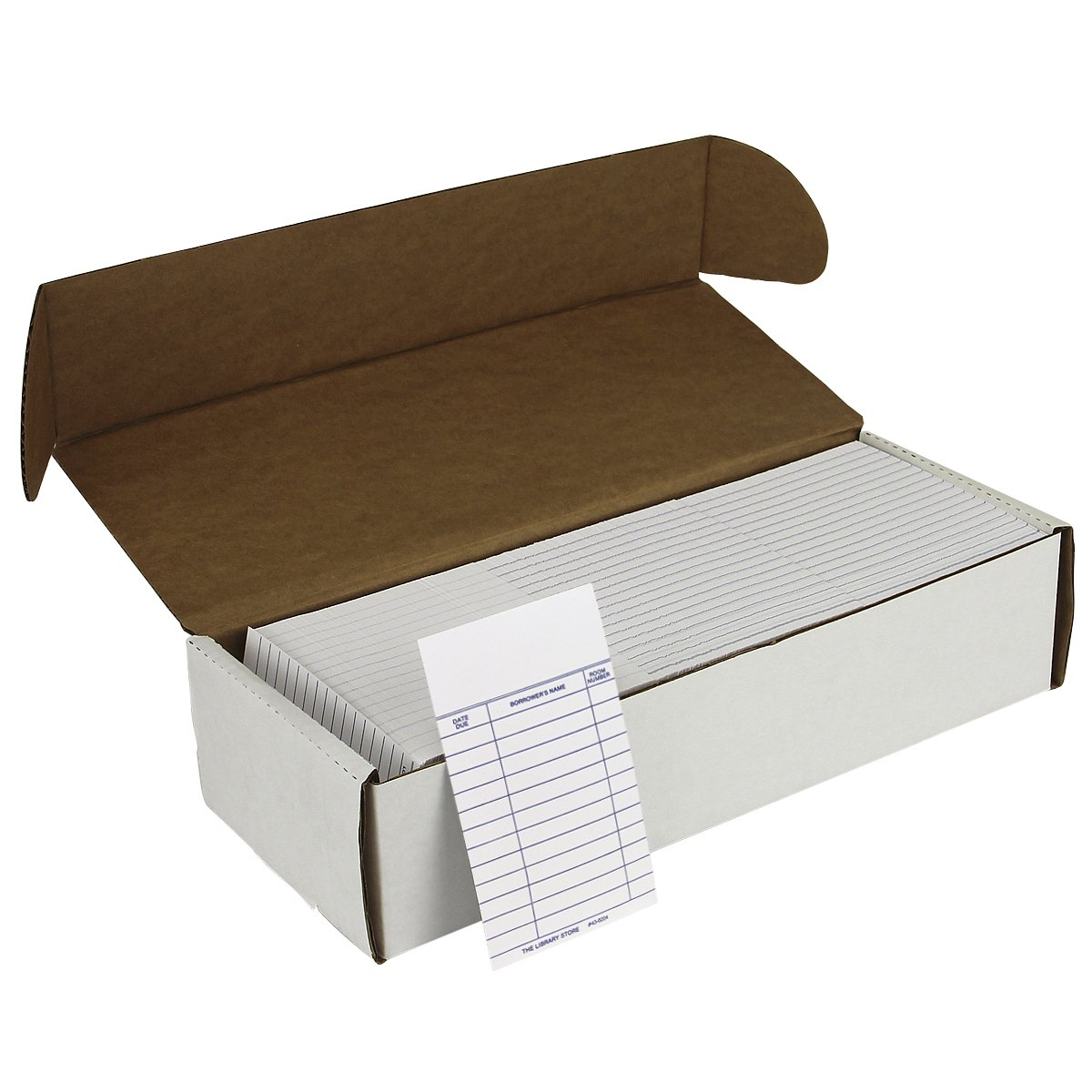 Book Cards White 3 Column with Room Number - Medium Weight 1000/pkg