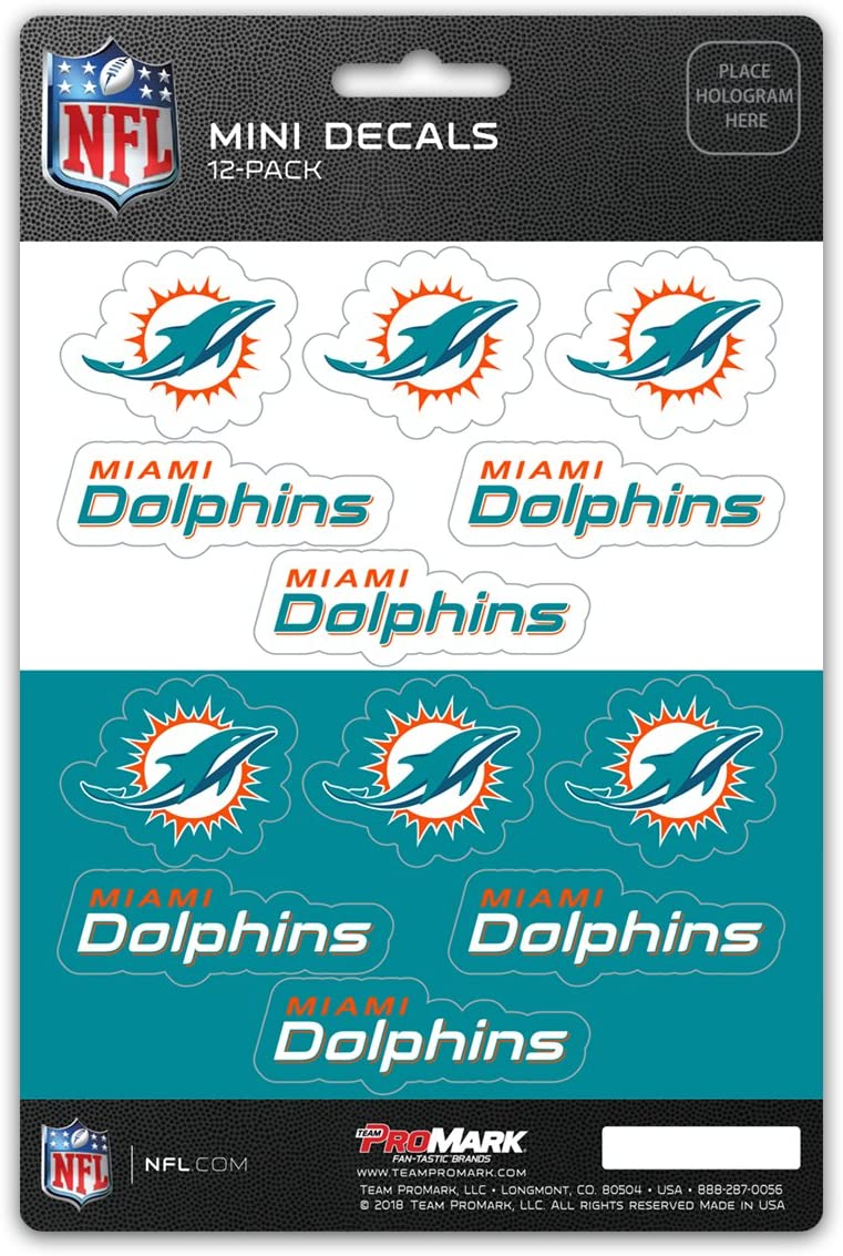 Promark NFL Miami Dolphins DecalDecal Set Mini 12 Pack, Team Colors, One Size