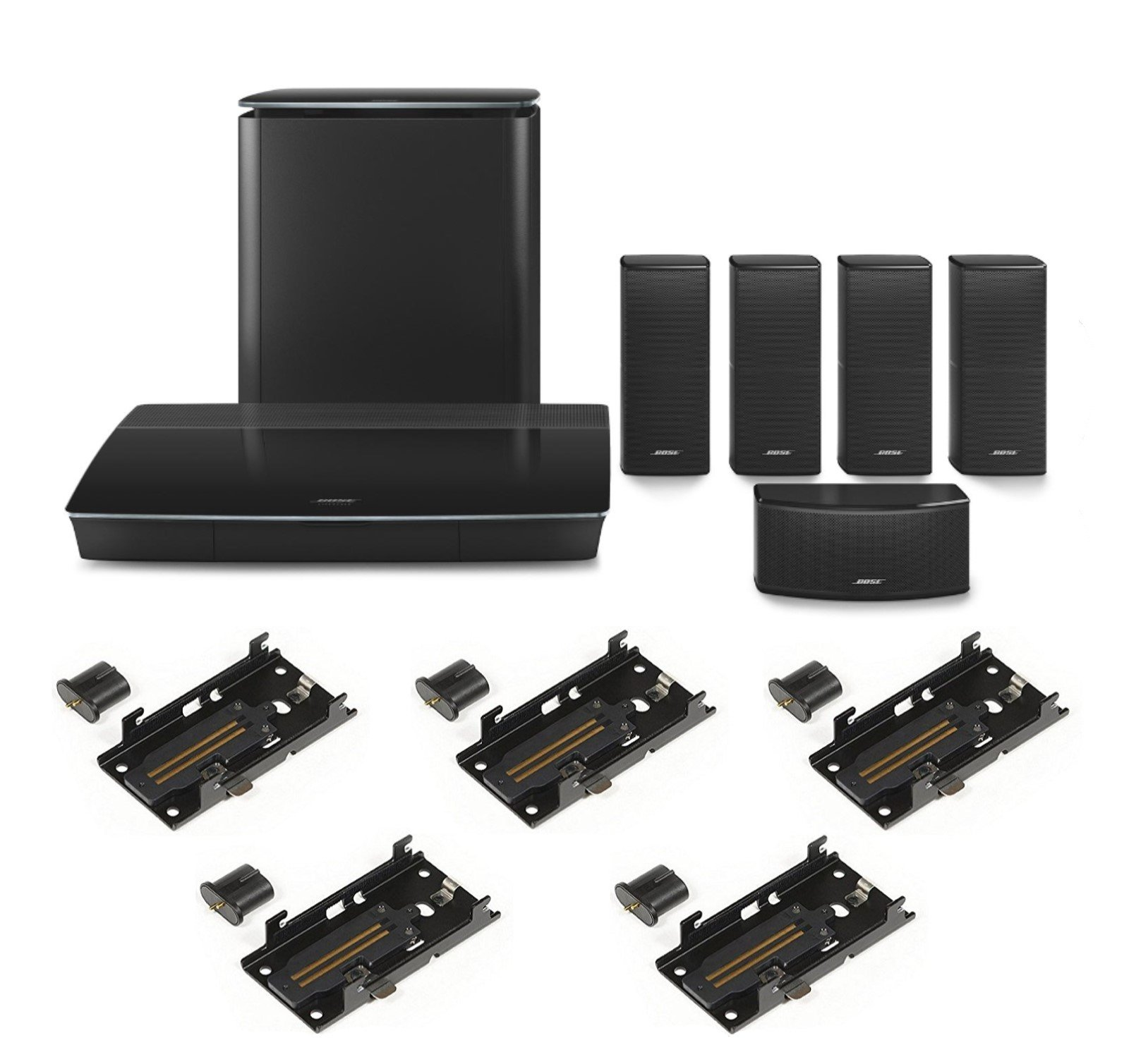Bose LifeStyle 600 Home Entertainment System & SLIDECONNECT WB50 Wall Mount Kit Bundle, Black by Bose
