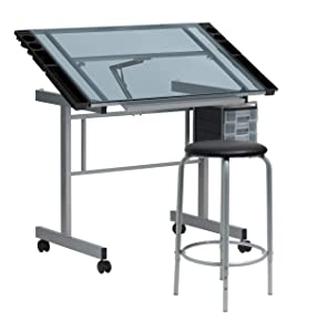 "SD Studio Designs Studio Designs 2 Piece Vision Modern Metal Hobby, Craft, Drawing, Drafting Table, Mobile Desk with 40.75"" W x 25.75"" D Angle Adjustable Top in Silver/Blue Glass"