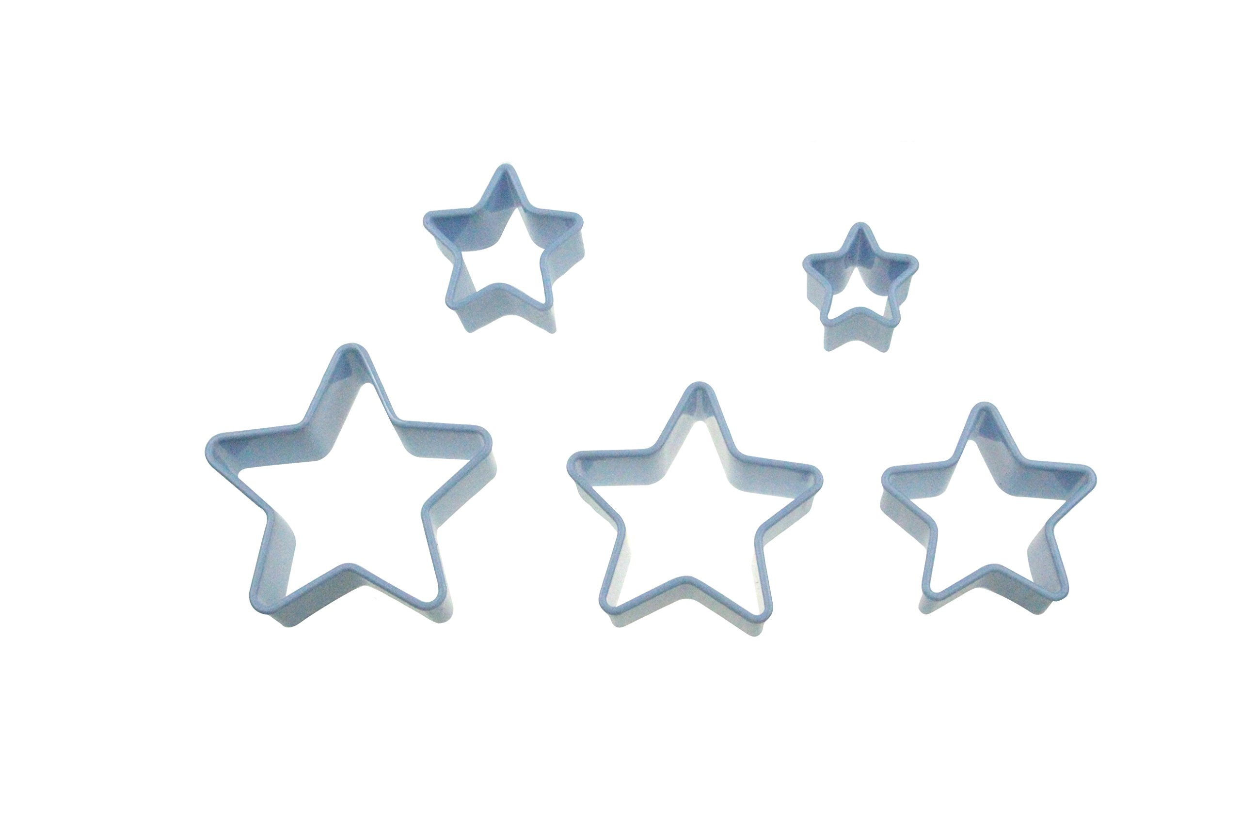 ShengHai Star Cookie Cutter Set, 5-Piece Plastic Stars Cutters, Multi-size Durable Star-shaped Biscuit Fondant Cutter Set Shapes Fruit Cutter for Kids (Light Blue)