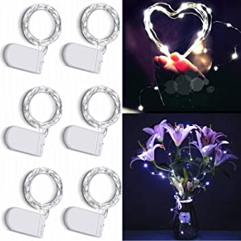 6-Pack CUUCOR 7ft 20 Micro LED Silver Copper Wire Firefly Starry Lights