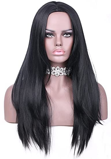 Amazon Com Vimikid 30 75cm Long Black Straight Wig Middle Parting
