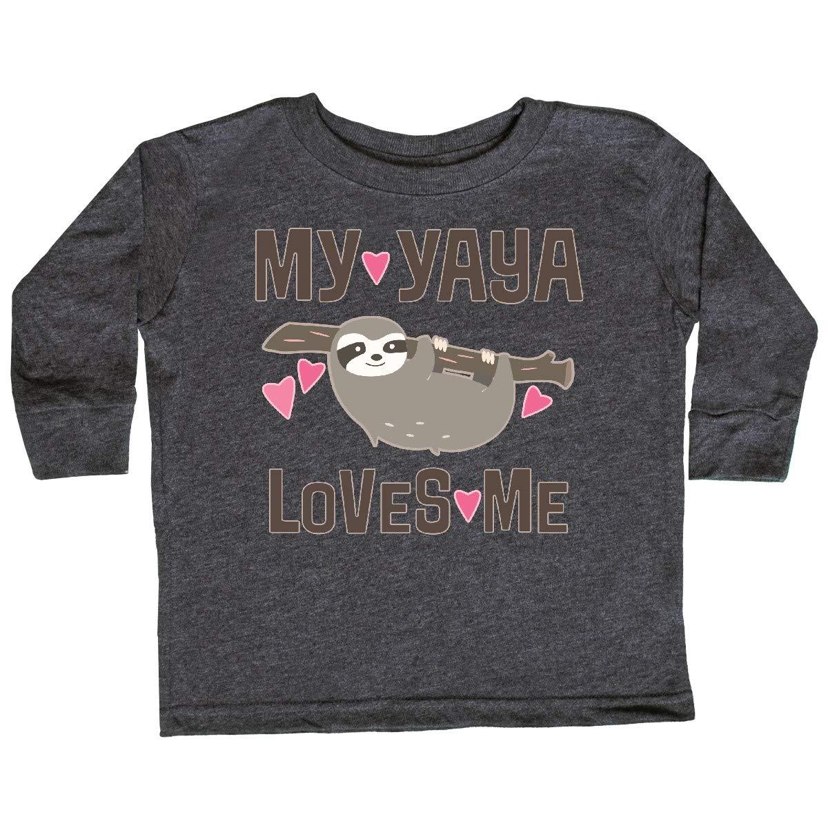 inktastic My Yaya Loves Me Sloth Toddler Long Sleeve T-Shirt