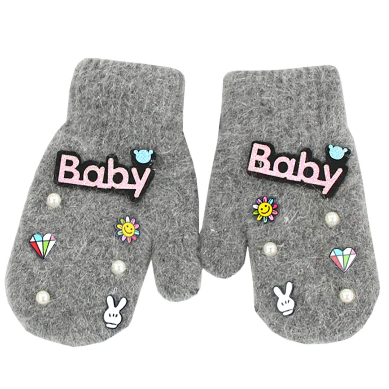 JMsDream Children Mittens New Winter Baby Pearl Warm Velvet Knitted Gloves with Wool Lined