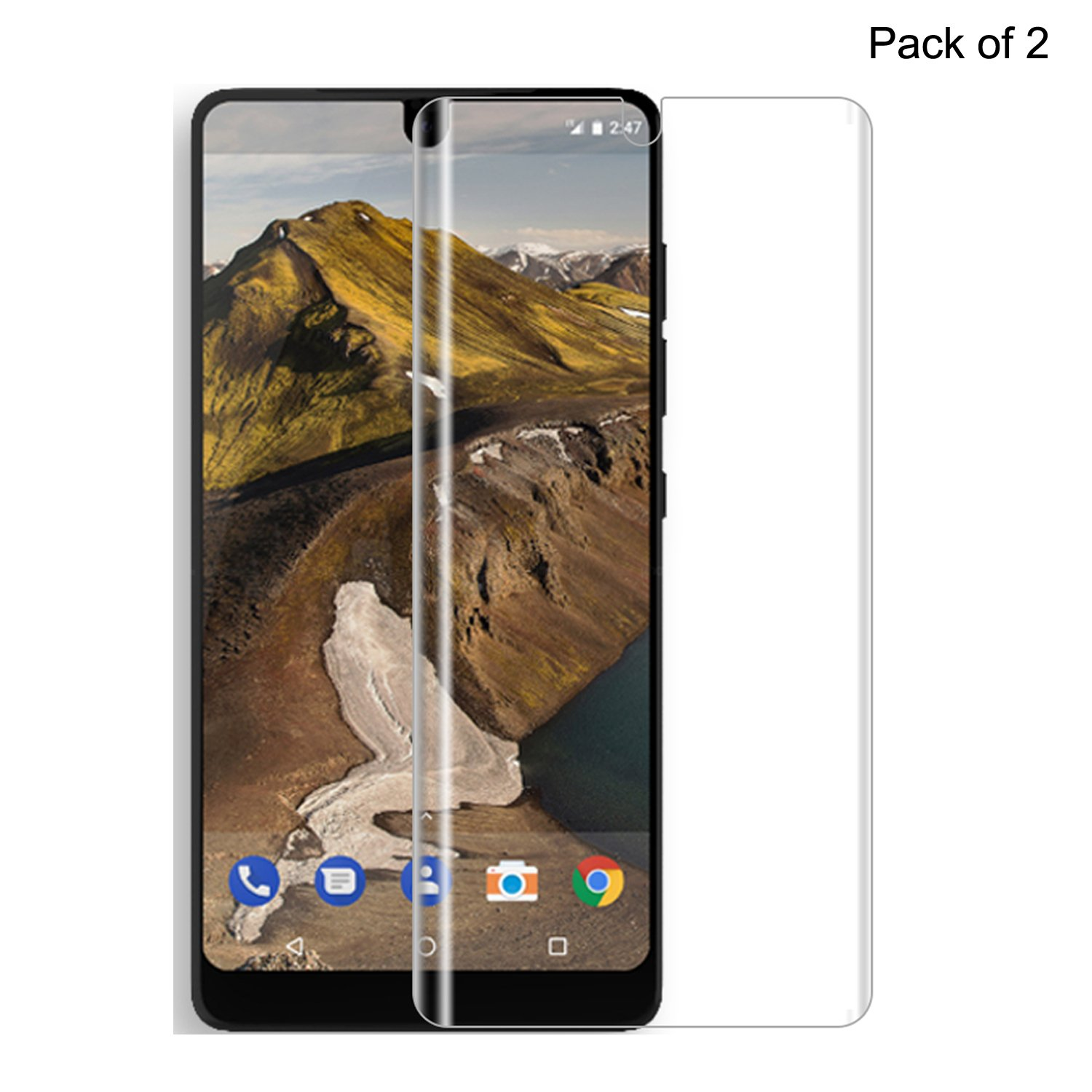 Essential Phone PH-1 Screen Protector Updated,Avesfer Film Ultra-Clear Ultra Slim 2.5D Round Edge Protective Screen Film,Scratch Resistant Bubble Free Pack of 2