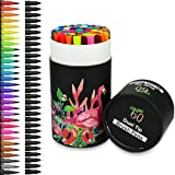 Security Dual Tip Brush Markers Pens, 60 Colored Pens Watercolor Dual Tip Pens Art Drawing Markers Highlighters with 0.4 Fineliner for Adult Coloring Books Bullet Art Project