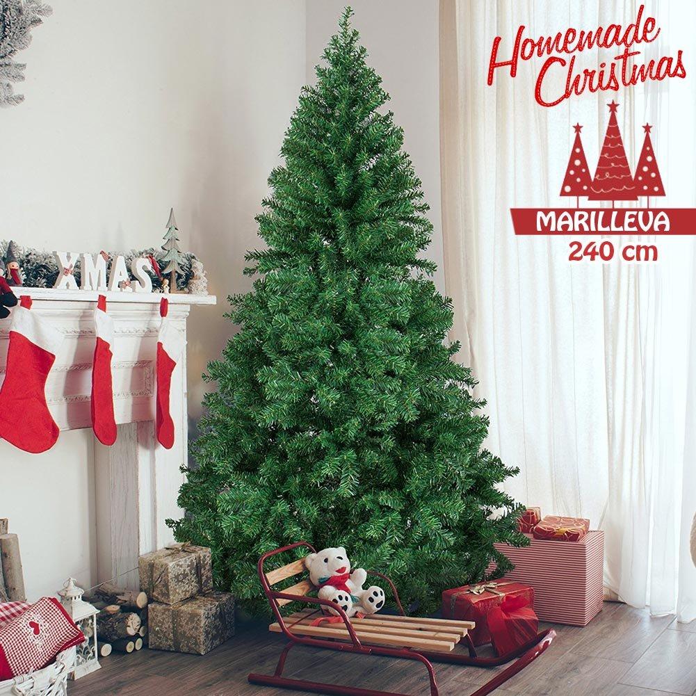 Albero di Natale MARILLEVA verde 240 cm Super-Folto Ecologico PVC, Base a Croce in ferro, 1400 Rami innesto ad uncino Aghi Anti Caduta Foltissimo BAKAJI