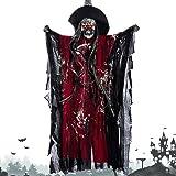 elfisheu Halloween Deko Gruselig Zombie Geist Gespenst Hängend Augen Glänzend Sound Gesteuerte für Halloweendeko Halloween Dekoration (Rot)