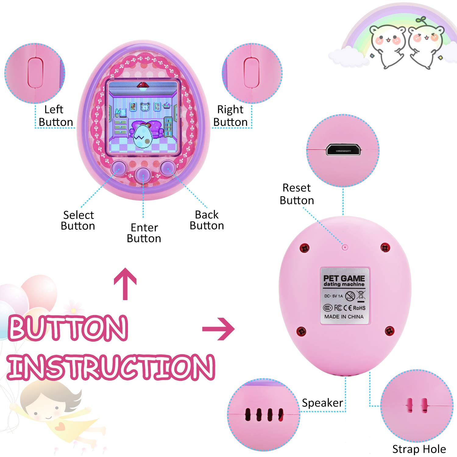 Virtual Digital Pets Toys Electronic Pets Game Machine HD Color Screen for Over 6 Years Old Child Toy 2019 New Version as a Best Birthday Gift for Boys Girls by Touma pets (Image #7)