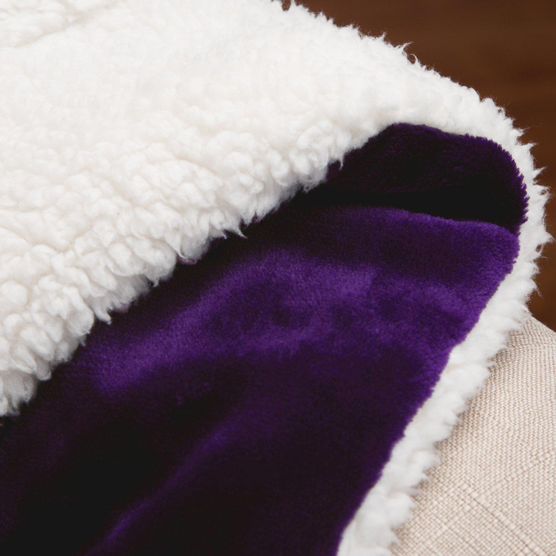 BEDSURE More than comfort Flauschige Kuscheldecke Violett 130x150cm super weiche Decke mit Lammfell, Wende-Design leichte Mikrofaser Wohndecke/Sofadecke/Überwurfdecke von Bedsure