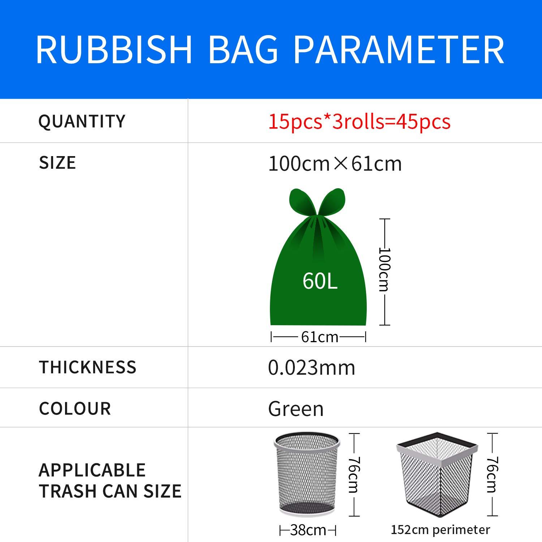 negocios 3 unidades material HDPE de 100 /× 61 cm oficina verde, 3 x 15 unidades resistentes y resistentes para el hogar Bolsas de basura ecol/ógicas de 60 litros bolsas de basura de 23 /μ