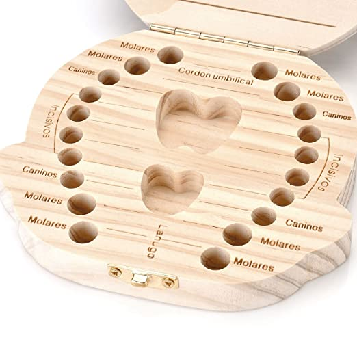 Mogoko Baby Tooth Box, Milk Teeth Wood Case Storage Keepsake Organizer Deciduous Souvenir...