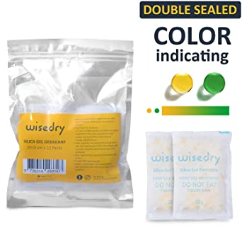 20 Gram [12 Packs] wisedry Silica Gel Packets Rechargeable Desiccant Dehumidifiers with Orange Beads