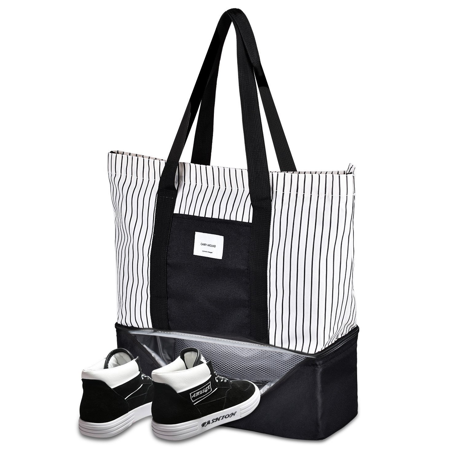 Soonnix Travel Tote Bag Work Lunch Shopping Shoulder Handbag with Insulated Picnic Cooler Top Zipper for Women Girls (Black+White)