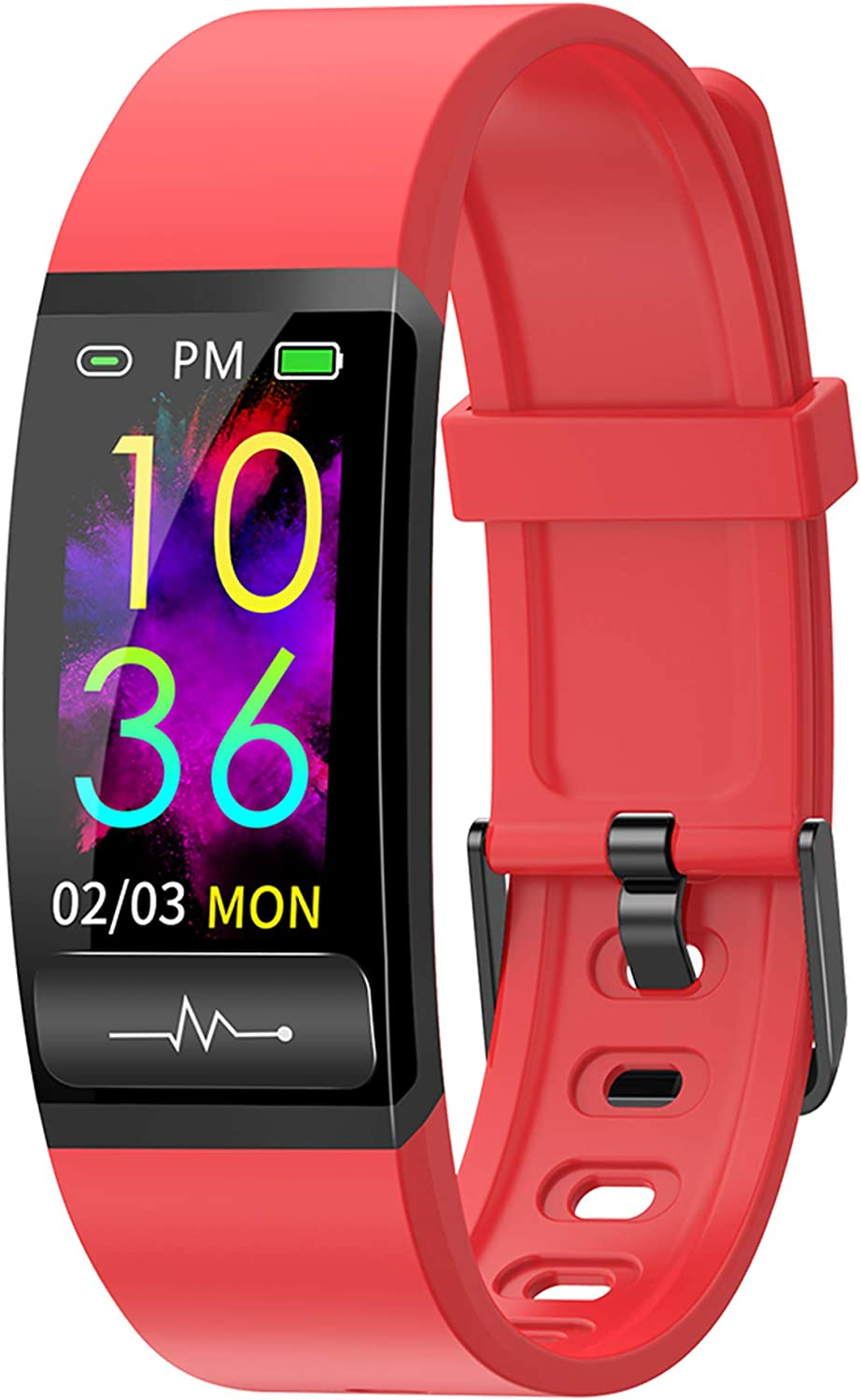 Smart Watch, Hongmed Fitness Watch with Body Temperature Blood Pressure Oxygen Monitor for Android Phones and iPhone Compatible, Waterproof Pedometer Activity Tracker Sleep Monitor for Men Women Red