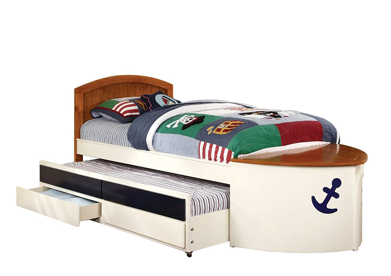 Amazon.com: Furniture Of America Youth Boat Design Bed With Trundle And  Storage Drawer, Twin, White And Oak: Kitchen U0026 Dining