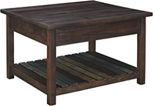 Signature Design by Ashley - Mestler Rustic Lift Top Coffee Table w/ Fixed Multi-Colored Shelf, Brown