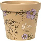 Garden Gifts by Precious Moments 171449 Bloom Where You're Planted 5.5-inch High Terra Cotta Pot Planter With 6-inch Diameter Yard Décor