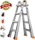 TACKLIFE Telescoping Ladder, 17 Feet Aluminum Extension Ladder with 2 Flexible Wheels, Safe Protective Switch, Non-Slip…