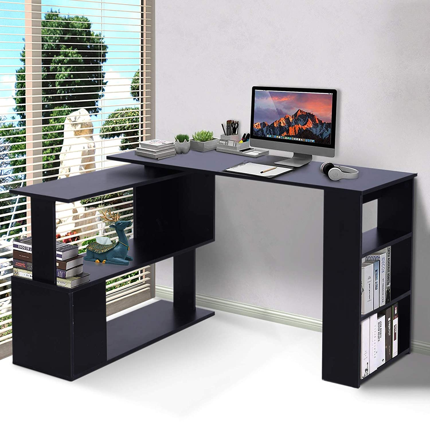 HOMCOM Modern L Shaped Rotating Computer Desk with Bookshelves – Black
