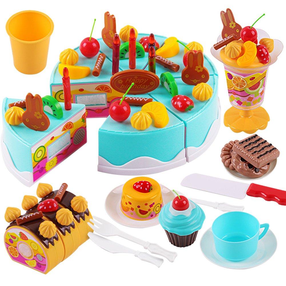 hscd1976 75Pcs Kids Role Pretend Play Toy Birthday Cake Dessert Icecream Tea Set - Blue